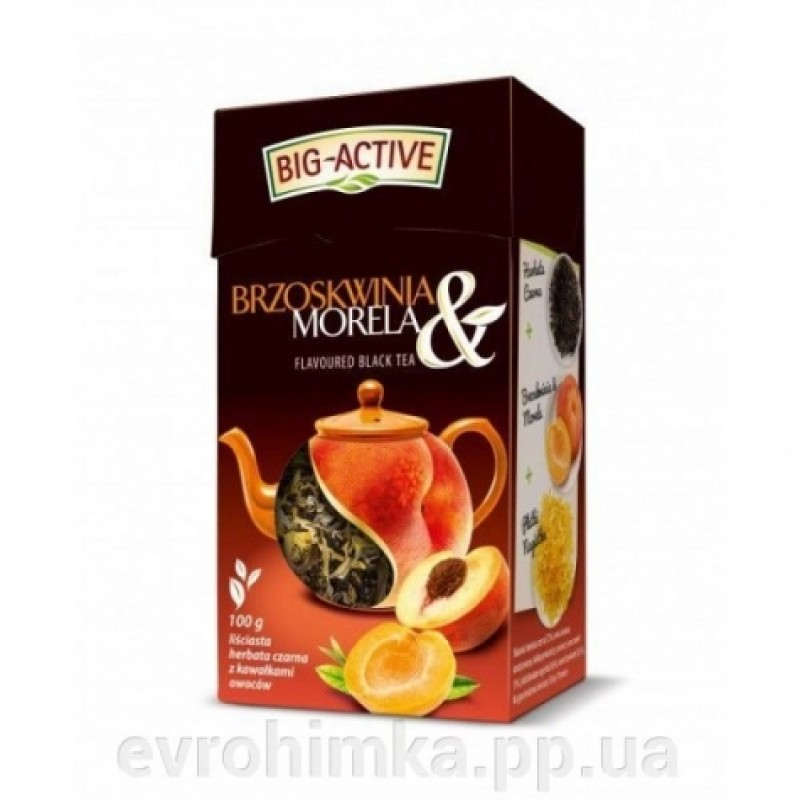 Чай чорний Big Active з персиком та абрикосом 80г