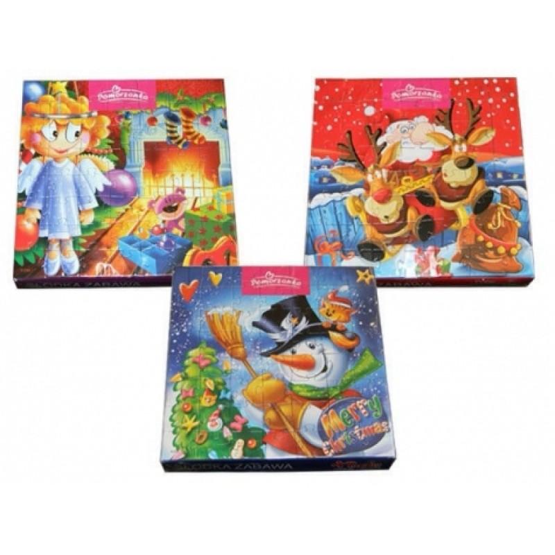 Цукерки новорічні Pomorzanka шоколад з пазлами 120г