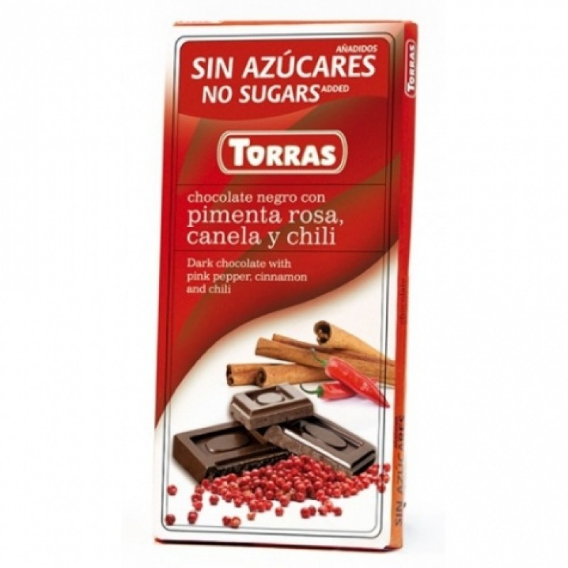 Шоколад Torras з червоним перцем корицею і перцим чілі 75г