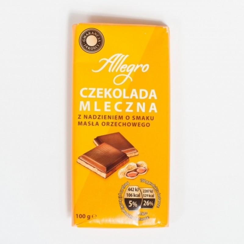Шоколад Allegro молочний з арахiсовою начинкою 100г