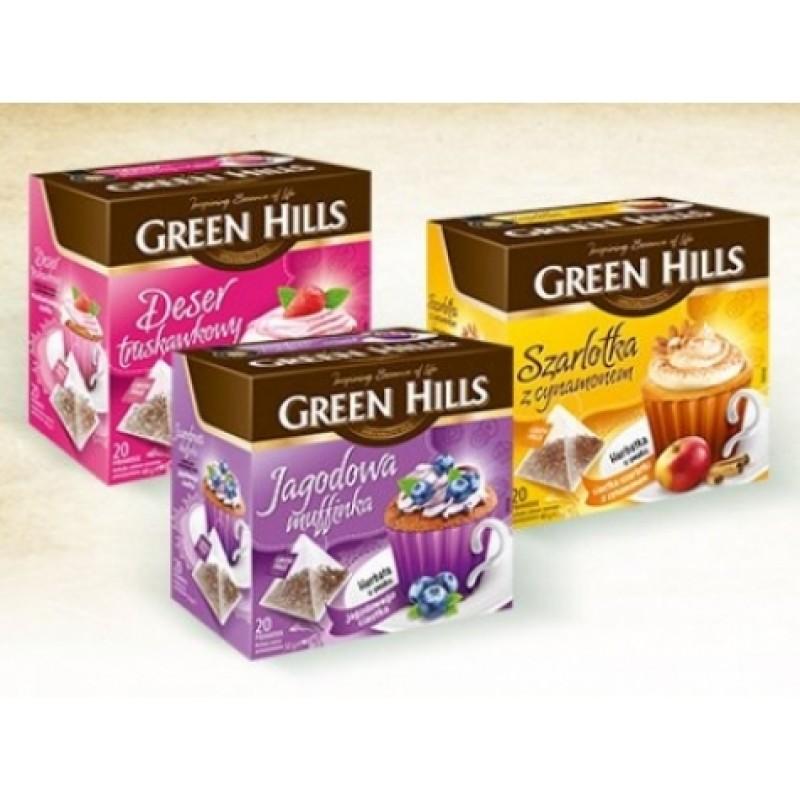 Чай Green Hills ягiдний мафін 20пірамідок
