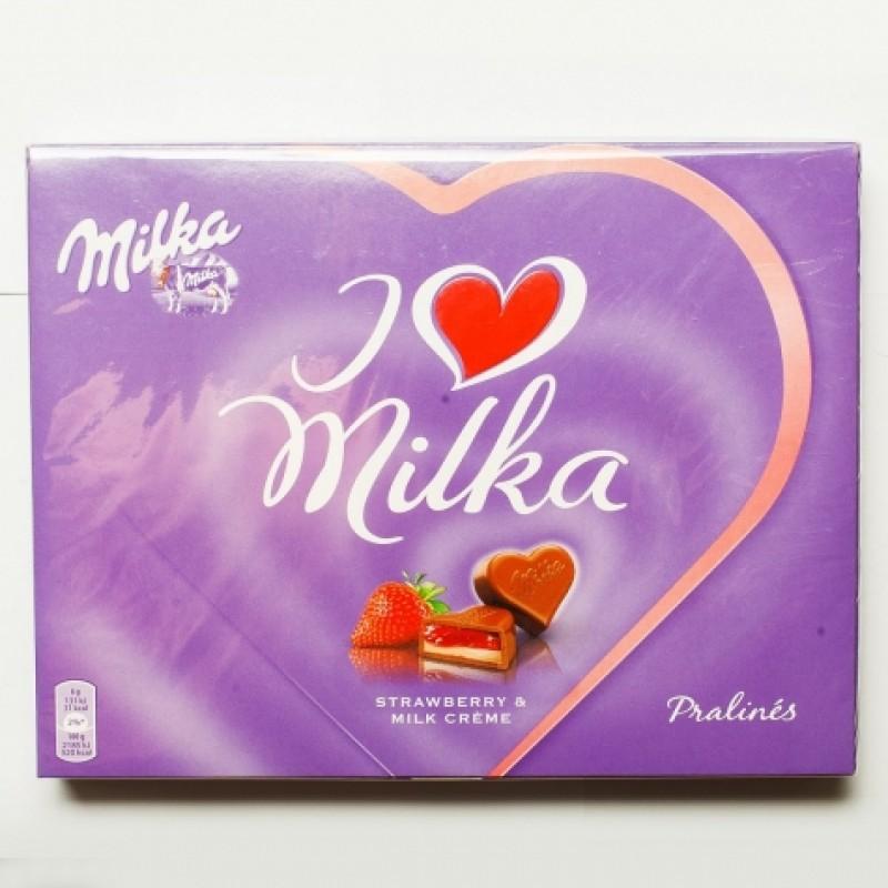 Цукерки Milka полунично-молочний крем 120г