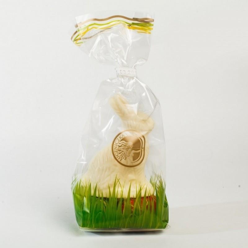 Фігурка пасхальна Зайчик з писанками білий шоколад 50г