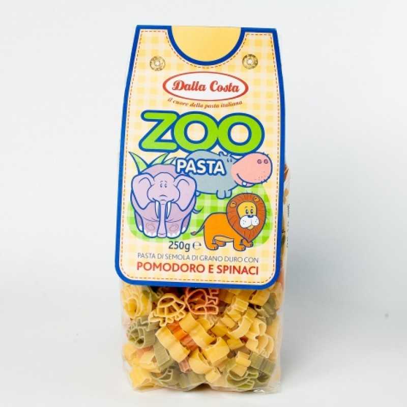 Макарони дитячi Dalla Costa Zoo з помiдором та шпинатом 250г