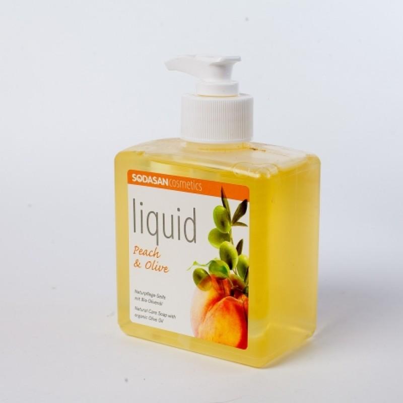 Рiдке органiчне мило Sodasan з дозатором персик та олива 300мл