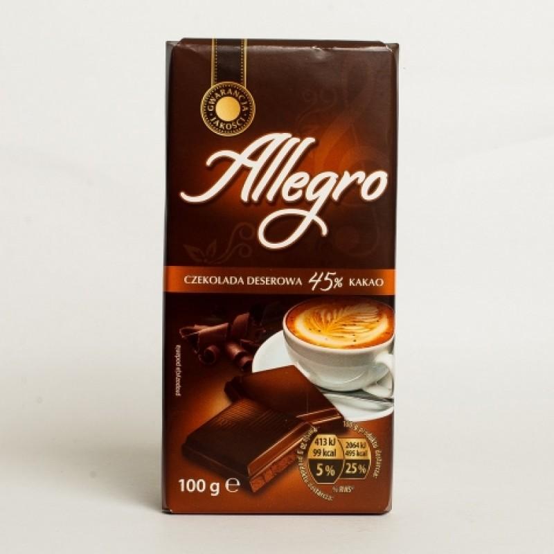 Шоколад Allegro десертний 45% какао 100г