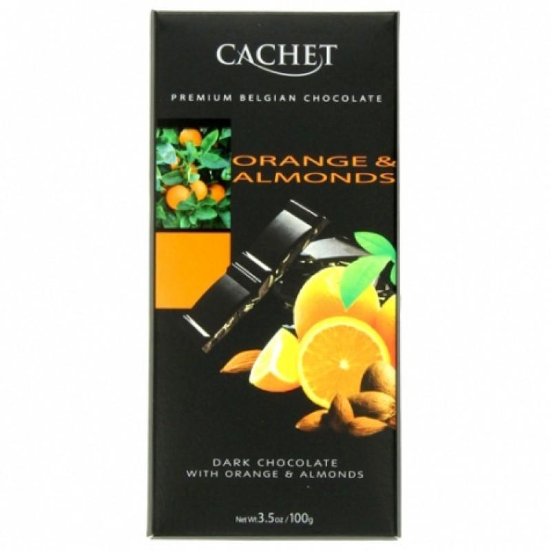 Шоколад Cachet з апельсином і мигдалем 100г