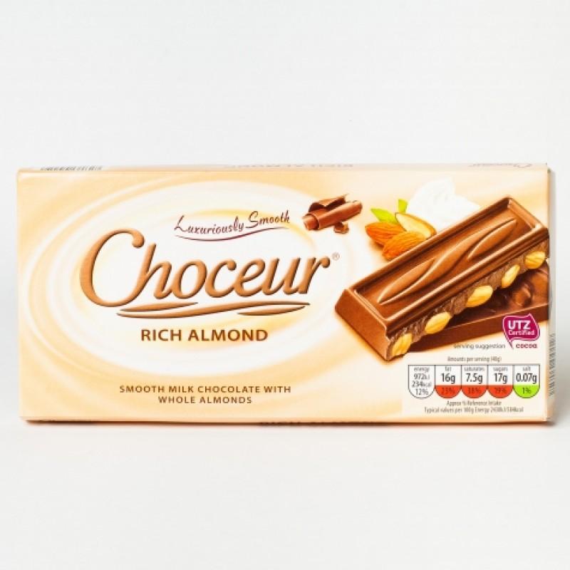 Шоколад Choceur молочний з мигдалем 200г