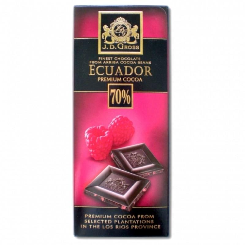 Шоколад J.D. Gross Ecuador 70% чорний з малиною 125г