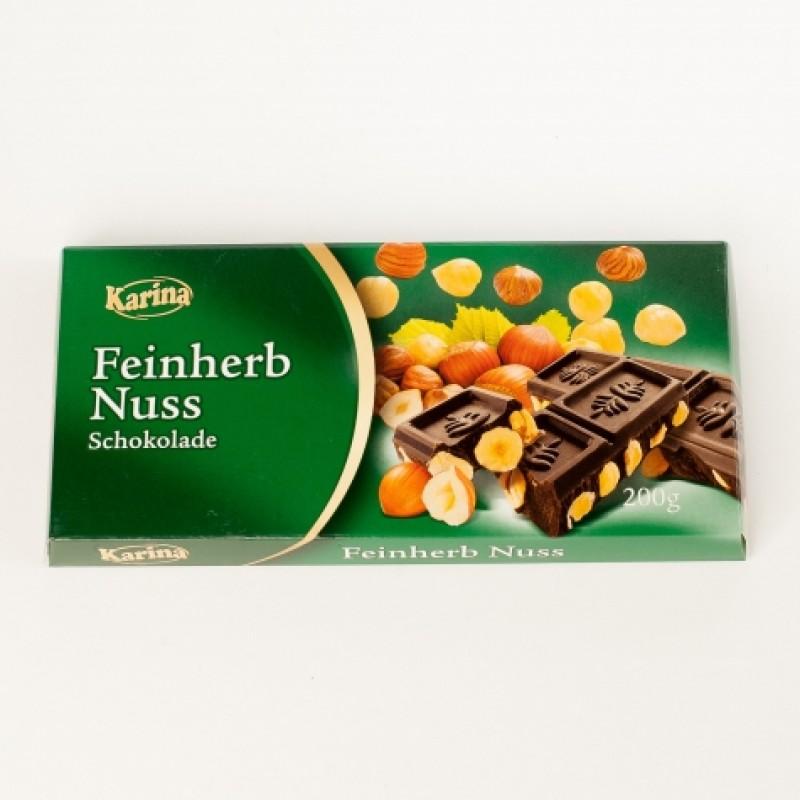 Шоколад Karina Чорний з лісовим горіхом 200г