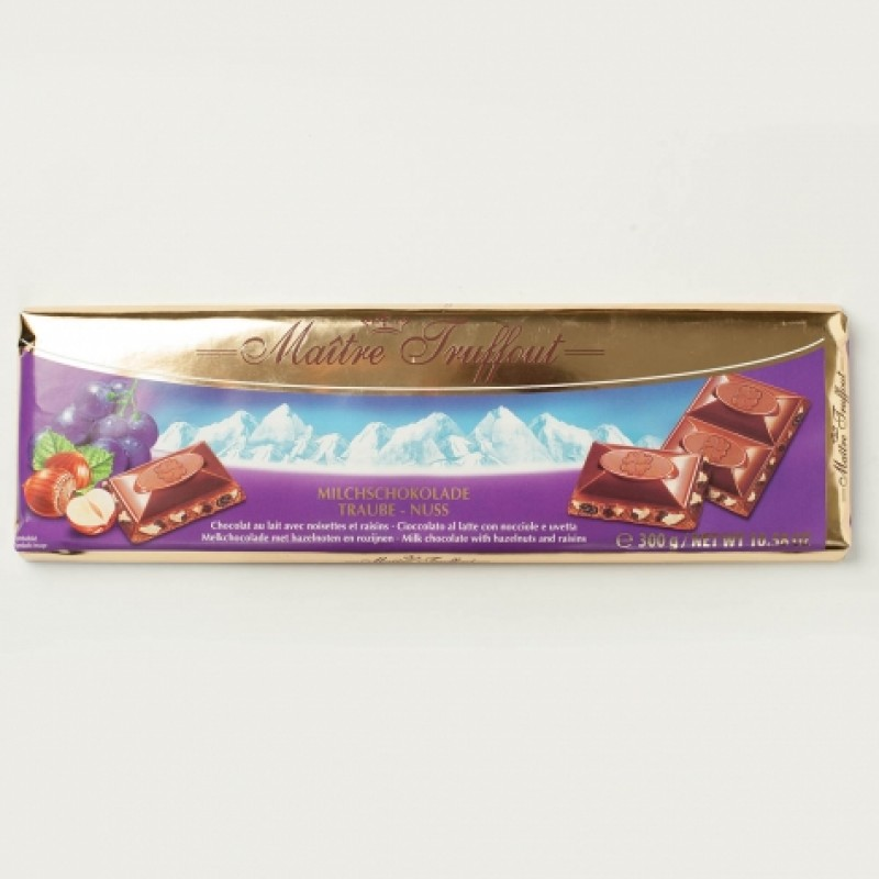 Шоколад Maitre Truffout молочний з арахiсом і родзмнками 300г