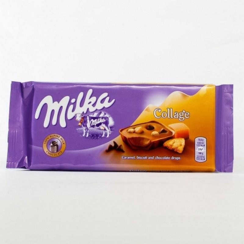 Шоколад Milka Collage карамель бiсквiт та шоколад 100г