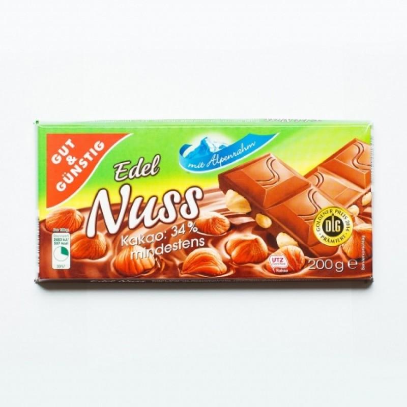 Шоколад Mit Alpenrahm Edel Nuss 200г