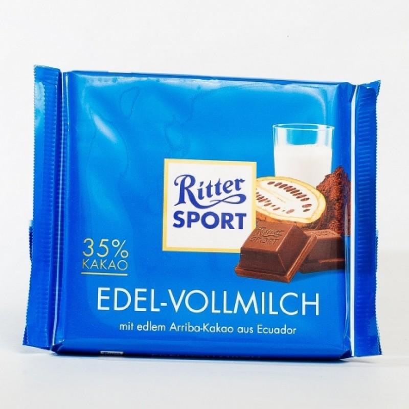Шоколад Ritter Sport молочний 35% какао 100г
