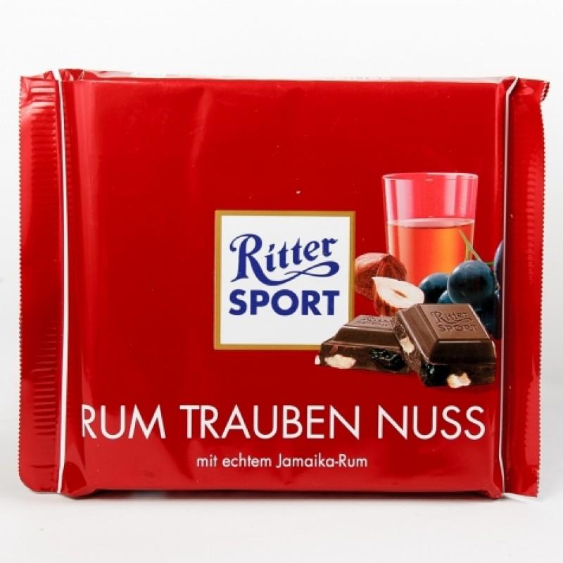 Шоколад Ritter Sport ром родзинки і фундук 100г
