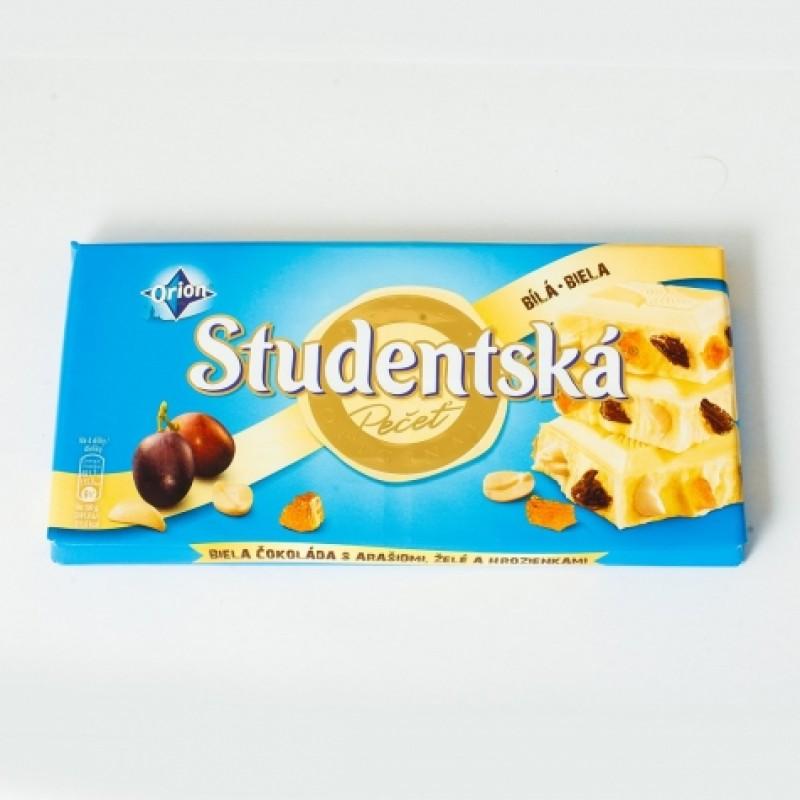 Шоколад Studentska білий iз родзинками 180г