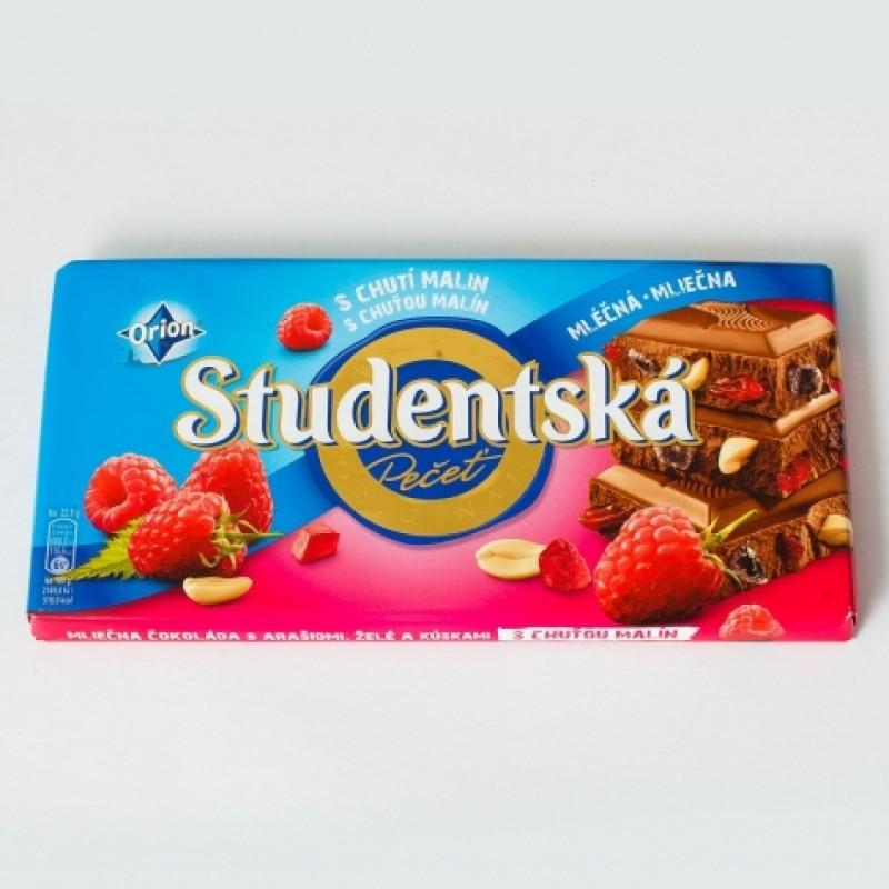 Шоколад Studentska молочний із малиною 180г