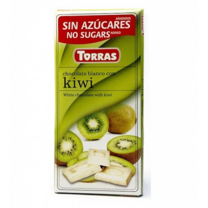Шоколад Torras білий з ківі 75г
