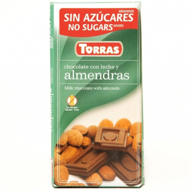 Шоколад Torras молочний з мигдалем 75г